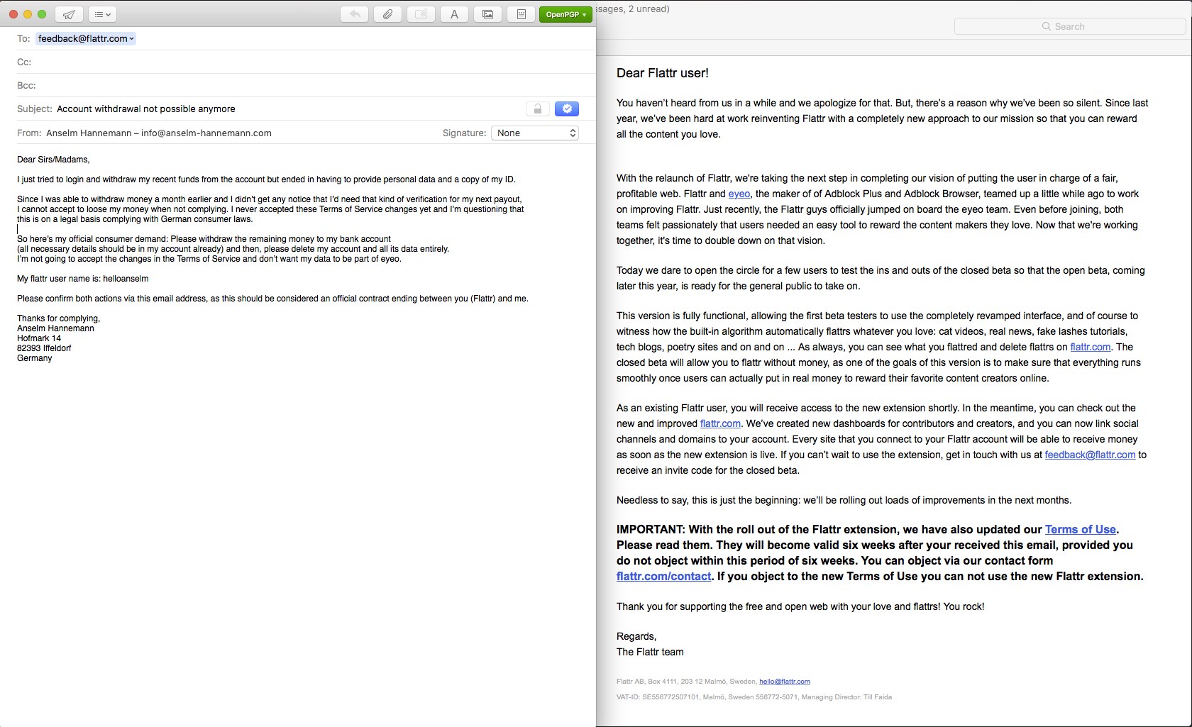 screenshots of my email reply to Flattr requesting my money back and to close my account