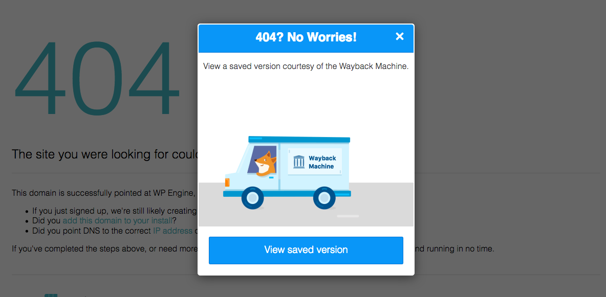 Screenshot of Firefox extension that displays link to Wayback machine if an HTTP-error code appears